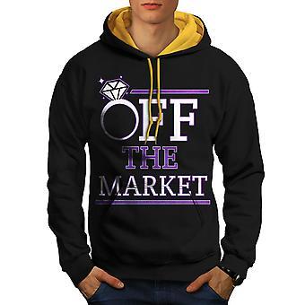 Korting op de markt mannen zwart (gouden kap) Contrast Hoodie | Wellcoda