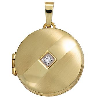 Medallion round pendant 333 gold yellow gold partly rhodium-plated partially frosted 1 cubic zirconia gold Medaillon