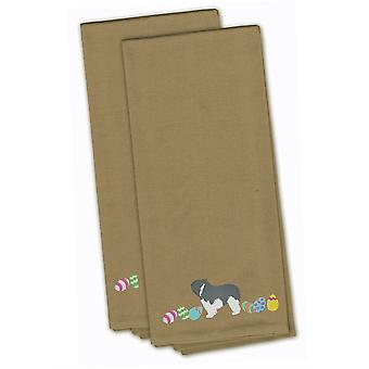 Polish Lowland Sheepdog Easter Tan Embroidered Kitchen Towel Set of 2