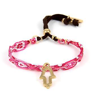 Ettika - Bracelet friendship Hamsa in yellow gold and cotton braid pink