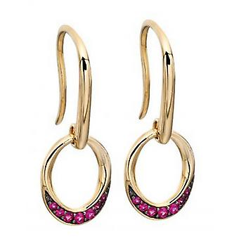 Elements Gold Ruby Open Circle Earrings - Red/Gold