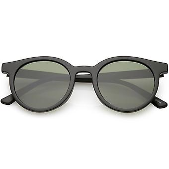 Retro Horn Rimmed Sunglasses Round Neutral Colored Flat Lens 51mm