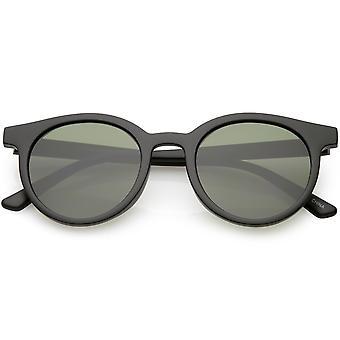 Retro róg oprawie okulary okrągłe neutralne kolorowe płaski obiektyw 51mm