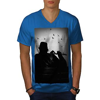 Flöjt Instrument musik män Royal BlueV-hals T-shirt | Wellcoda
