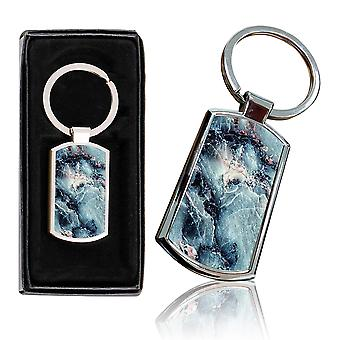 i-Tronixs - Premium Marble Design Chrome Metal Keyring with Free Gift Box (3-Pack) - 0015