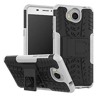 Hybrid Case 2teilig Outdoor Weiß für Huawei Y6 2017 Tasche Hülle Cover Schutz