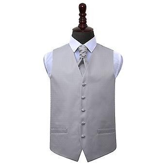 Silber griechischen wichtige Hochzeit Weste & Krawatte Set