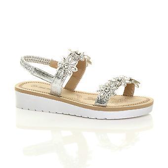 Ajvani womens low wedge heel flatform diamante flower strappy slingback sandals