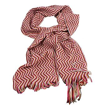 Bassin and Brown Peate Chevron Wool Scarf - Red/Beige