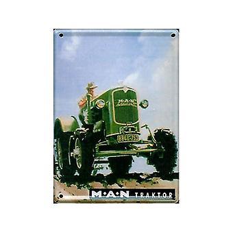 Человек трактор металла открытка / мини-знак