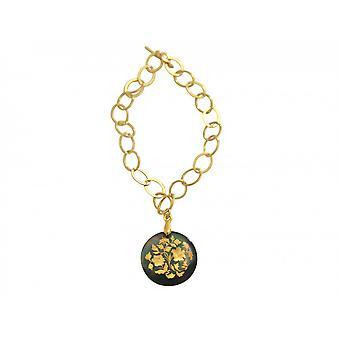 Armbanden verguld armband - hanger - medaillon - moeder van de parel - - grijs - 2.5 cm