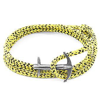 Anchor & Crew Yellow Noir Admiral Anchor Silver and Rope Bracelet