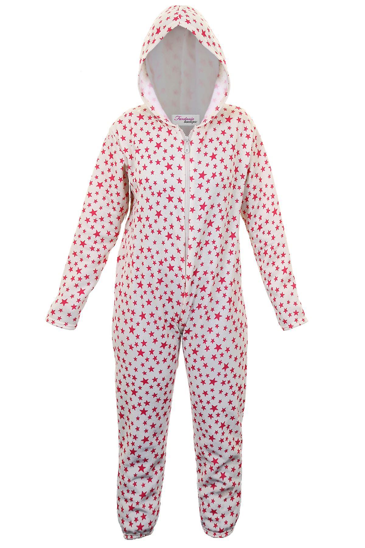 Mädchen-Sterne Print Zip vorne bequeme Kinder Kapuzen-alles In einem Sleepsuit Onsie