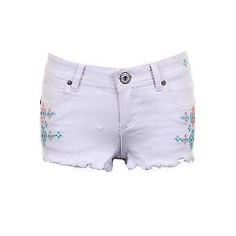 Ladies Denim Pastel Coloured Aztec Summer Shorts Women's Fitted Hotpants