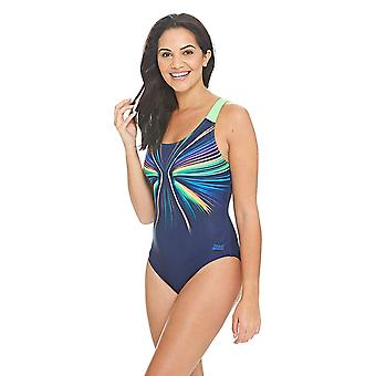 Zoggs Jettison Speedback Swimsuit in Navy / Multi Colour - 100% Chlorine Proof Aqualast