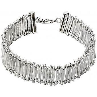 Begin scharnierend getextureerde armband - zilver
