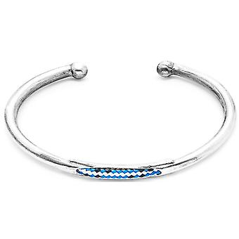 Anchor and Crew Trent Silver and Rope Bangle - Blue Dash