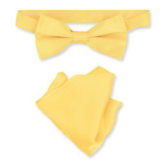 Biagio 100% Silk BowTie Solid Mens Bow Tie & Handkerchief