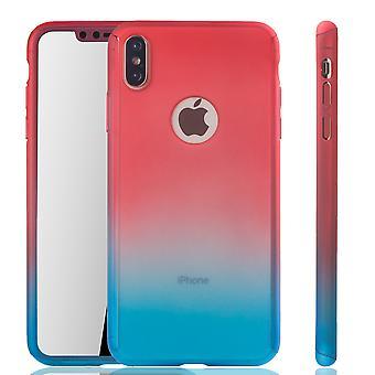 Apple iPhone proteção completa tampa tanque proteção vidro vermelho / azul XS Max móvel caso