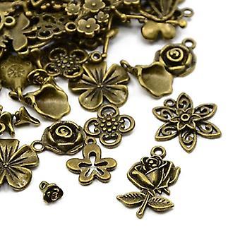Packet 30 Grams Antique Bronze Tibetan 5-40mm Flower Charm/Pendant Mix HA07360