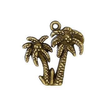10 x Steampunk antik brons tibetanska 21mm Palm Tree Charm/hänge ZX12720
