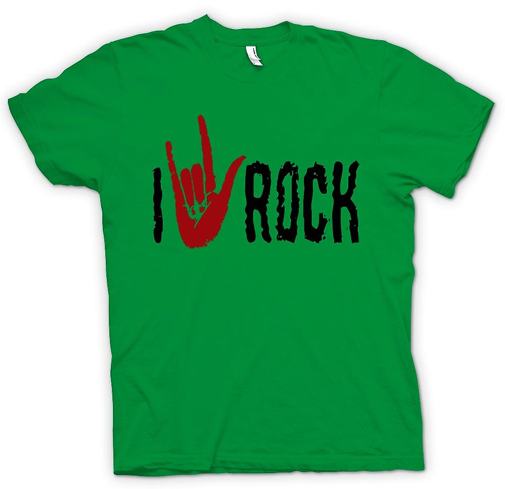 Mens T-shirt - I Love Rock - Funny