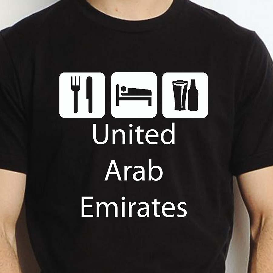 Eat Sleep Drink Unitedarabemirates Black Hand Printed T shirt Unitedarabemirates Town