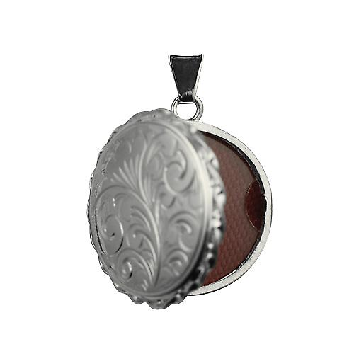 Silver 25mm engraved twisted wire edge flat round Locket