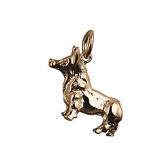 9ct Gold 20x22mm solid Corgi Dog Pendant or Charm