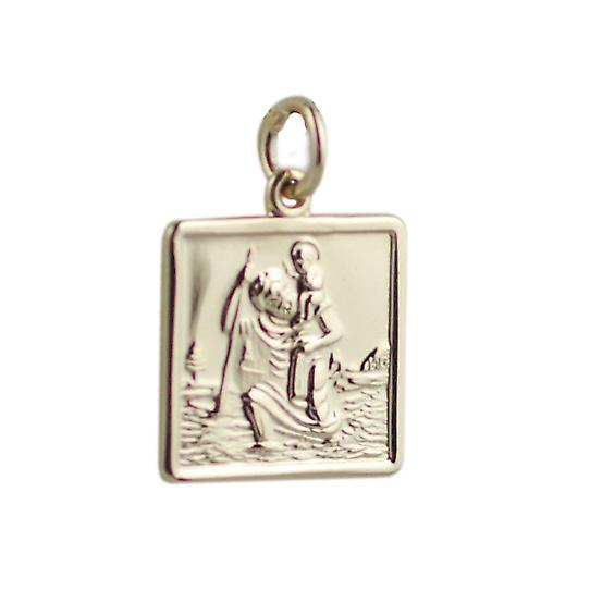 9ct Gold 17x17mm square St Christopher Pendant