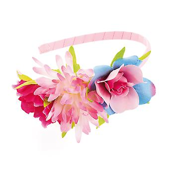 Girl's Pink Wrapped Alice Band With Pink & Blue Flower Design