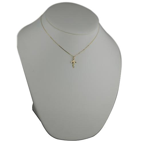 9ct Gold 16x10mm diamond cut sunray flat latin Cross with a curb Chain 16 inches Only Suitable for Children