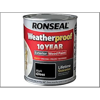 Ronseal Weatherproof 10 Year Exterior Wood Paint Black Gloss 2.5 Litre