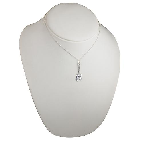 Silver 40x13mm solid Electric Guitar Pendant with a rolo Chain 16 inches Only Suitable for Children
