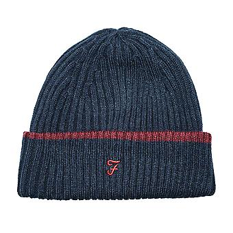 Junior Boys Farah Ribbed Beanie In Navy- Ribbed Construction- Tipped Brim-