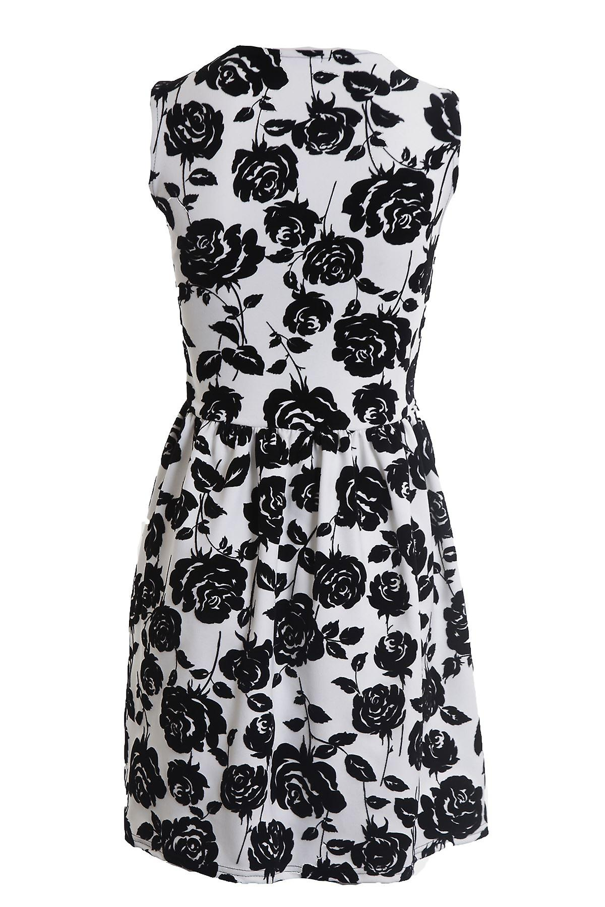 New Ladies Sleeveless Flora Flock Print Women's Flare Skater Dress