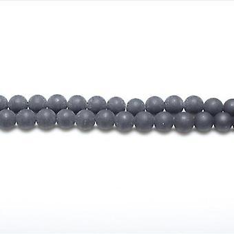 Strand 62+ Dark Grey Black Stone 6mm Matte Plain Round Beads GS1591-1