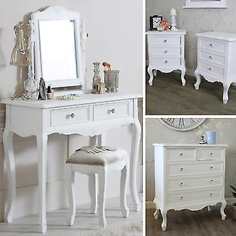 White Bedroom Furniture, Chest of Drawers, Dressing Table Set & Bedside Tables - Elise White Range