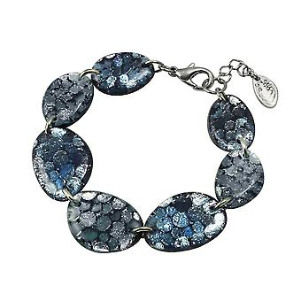 Eternal Collection Catalina Shades Of Blue Silvered Resin Bracelet