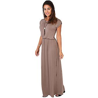 KRISP Womens Turn Up Sleeve Maxi Dress