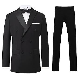 Dobell Mens Black 2 Piece Tuxedo Regular Fit Peak Lapel Double Breasted