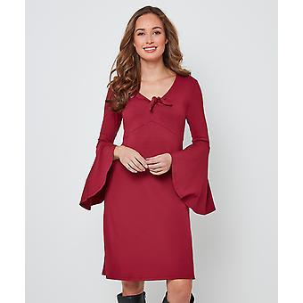 Joe Browns Womens enkel Trikåklänning med räfflade ärmar