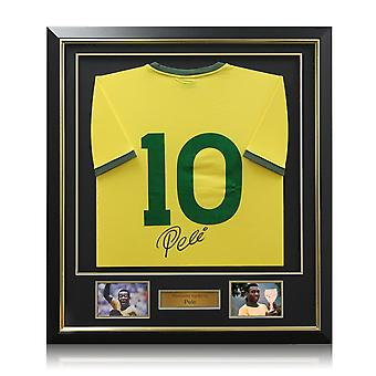 Deluxe Framed Pele Number 10 Brazil Football Shirt (Gold Inlay)