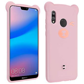 Huawei P20 Lite Teddy Bear 3D Soft Case - Pink