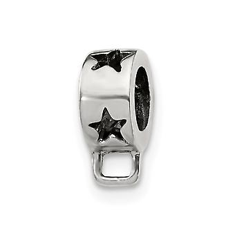 925 Sterling Silver Polished Antique finish Reflections Star Loop Click-on Bead Charm