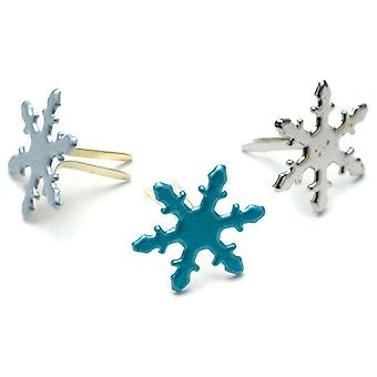 Painted Metal Paper Fasteners 50 Pkg Assorted Pearl  Snowflakes Ci90652