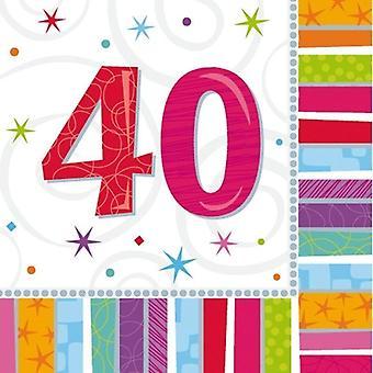 40TH BIRTHDAY NAPKINS,TABLEWARE(40TH X 2 PKS)