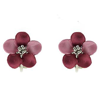 Clip On Earrings Store Petite Silver Plated Matt Lavender Pink Daisy Flower Clip