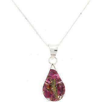 Shrieking Violet Sterling Silver Real Pink Heather Flower Pendant