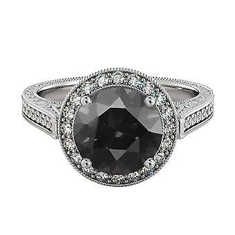 2,60 Black Diamond Ring CTW 14K Weißgold mit Diamanten Halo filigran mit Akzenten
